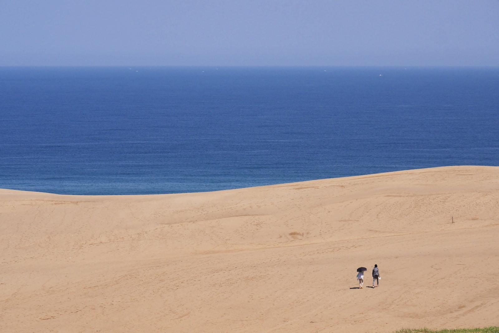ブルーとベージュの世界、鳥取砂丘
